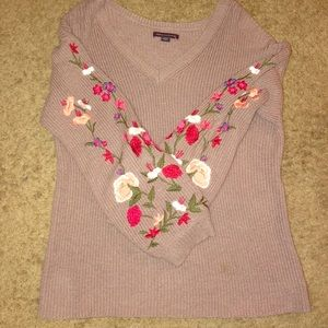 American Eagle Sweater with flowers on sleeves